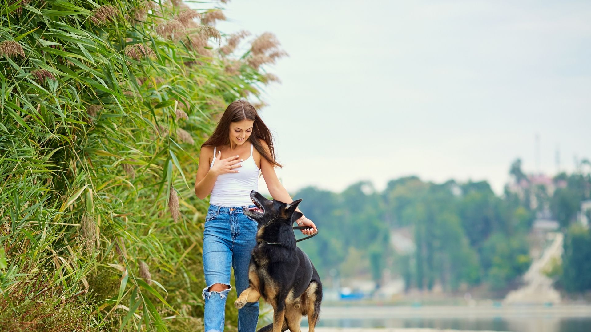 Właścicielka z psem na spacerze