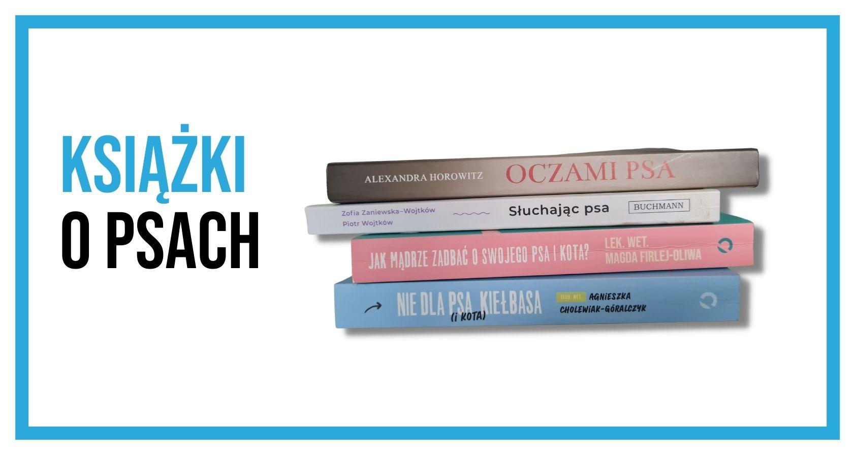 Cztery leżące na sobie książki dotyczące psów